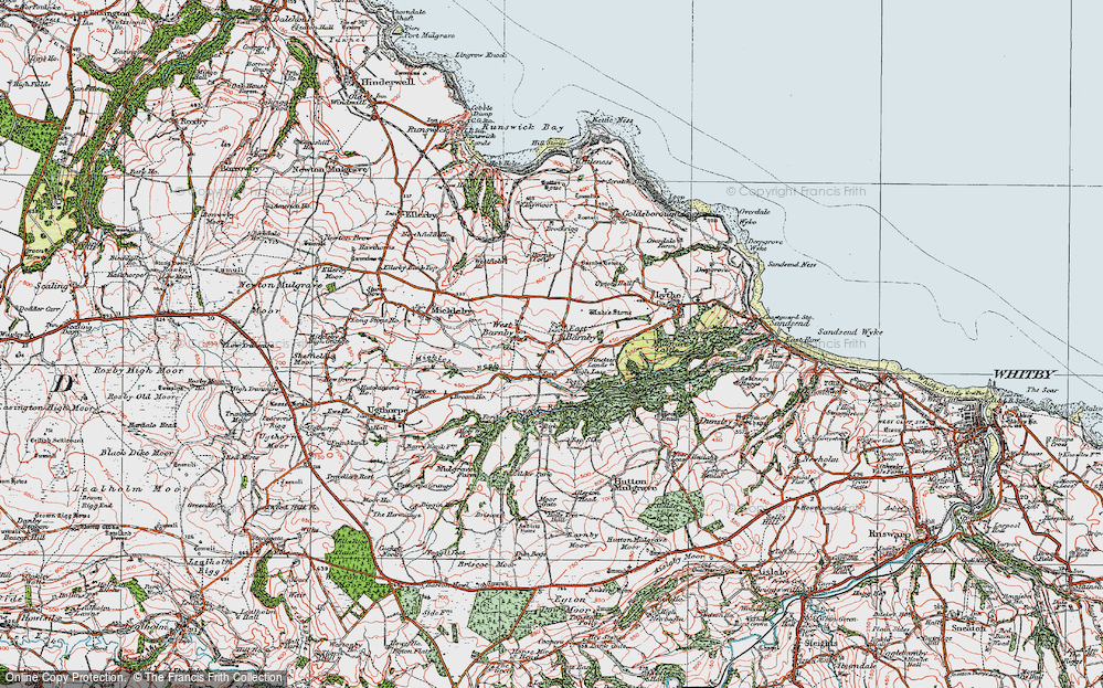 Old Map of Historic Map covering Allerton Head in 1925