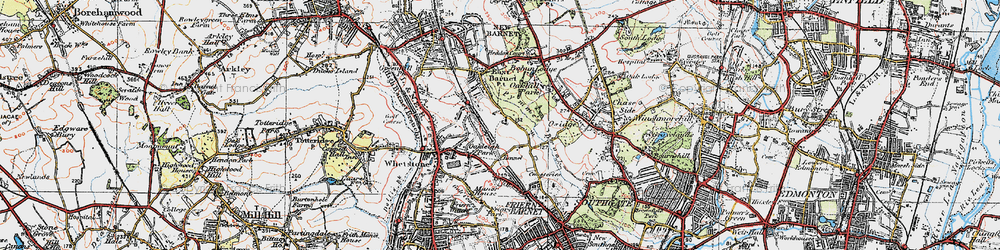 Old map of East Barnet in 1920