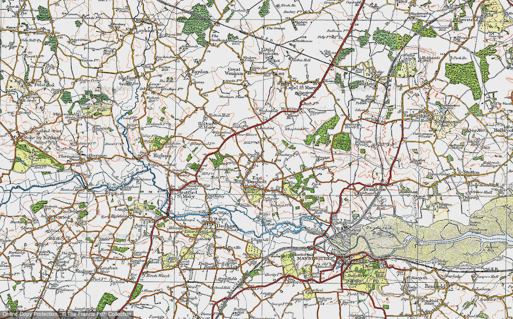 Old Map of Historic Map covering Ackworth Ho in 1921