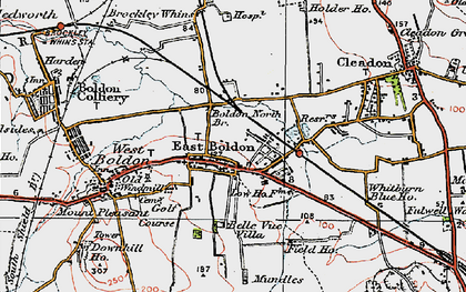 Old map of East Boldon in 1925