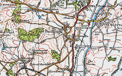Old map of East Budleigh in 1919
