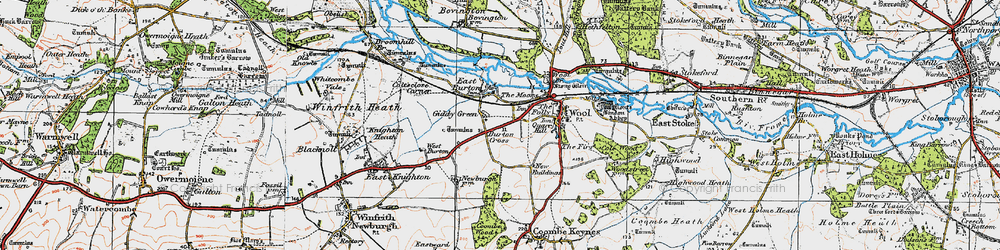 Old map of East Burton in 1919