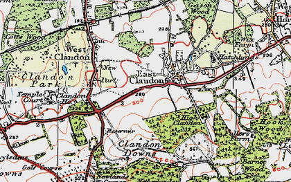 Old map of East Clandon in 1920