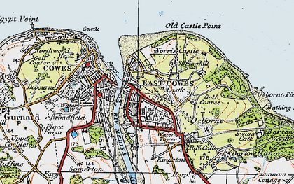 Old map of East Cowes in 1919