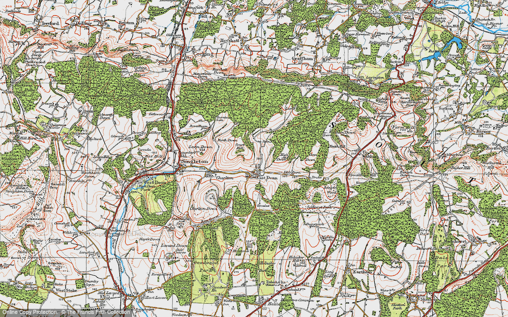 Old Map of Historic Map covering Wood Lea in 1919