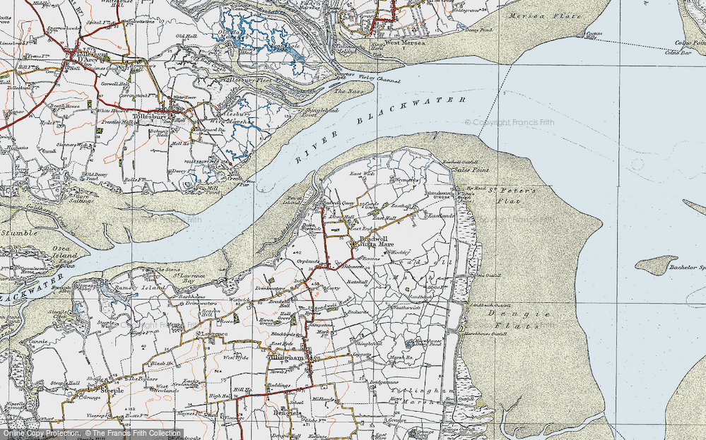 Old Map of Historic Map covering Tip Head in 1921