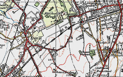 Old map of East Ewell in 1920