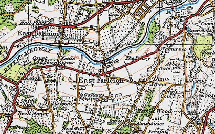 Old map of East Farleigh in 1921
