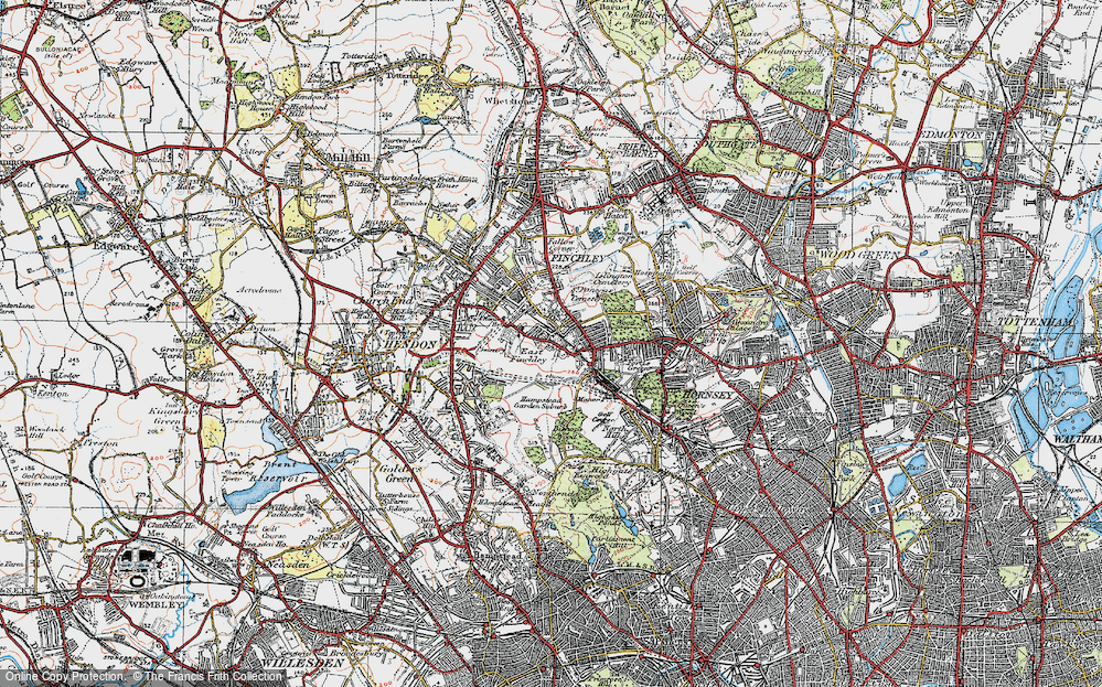 Old Map of East Finchley, 1920 in 1920