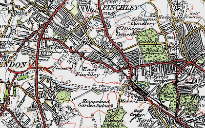 Old map of East Finchley in 1920