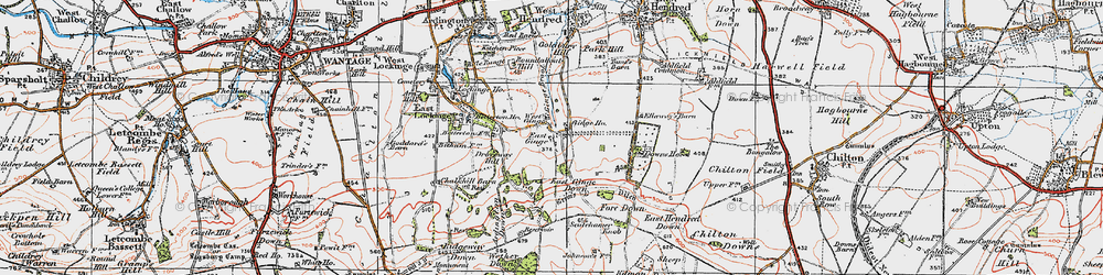 Old map of Ardington Down in 1919