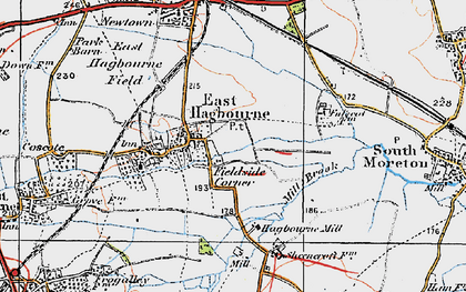 Old map of East Hagbourne in 1919