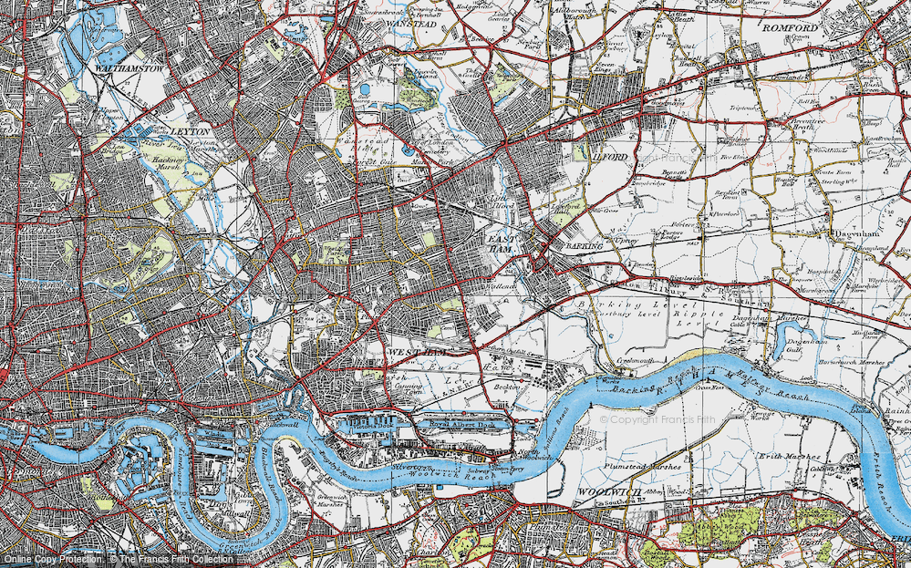 Old Map of East Ham, 1920 in 1920