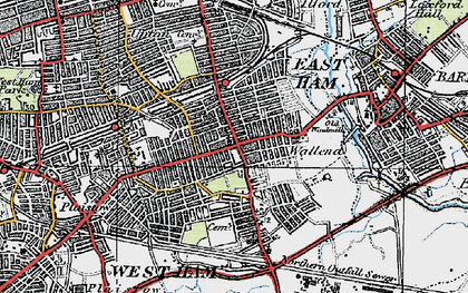 Old map of East Ham in 1920