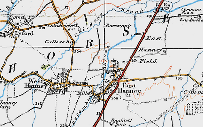 Old map of East Hanney in 1919