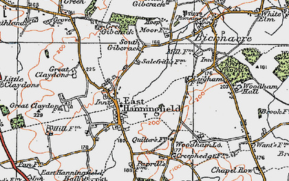 Old map of East Hanningfield in 1921