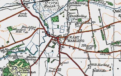 Old map of East Harling in 1920