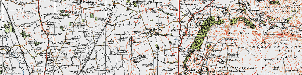 Old map of East Harlsey in 1925