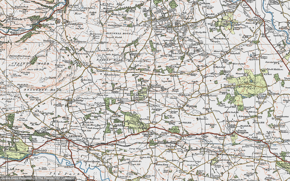 Old Map of Historic Map covering Ayrlow Banks in 1925