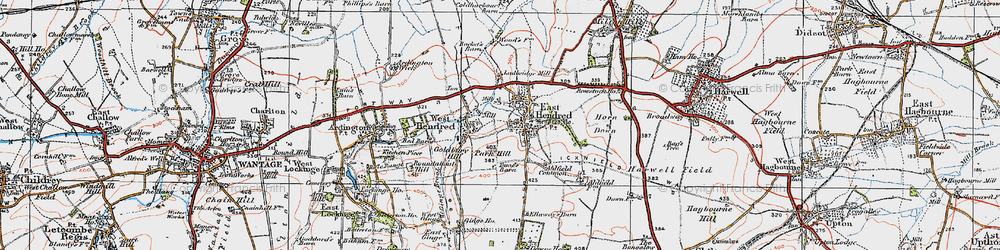 Old map of East Hendred in 1919