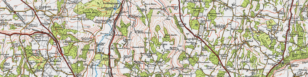 Old map of East Hill in 1920