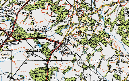 Old map of East Hoathly in 1920