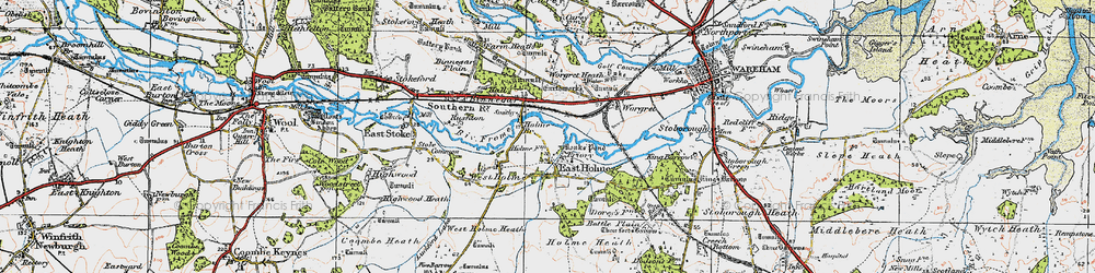 Old map of Worgret Heath in 1919