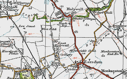 Old map of East Holywell in 1925