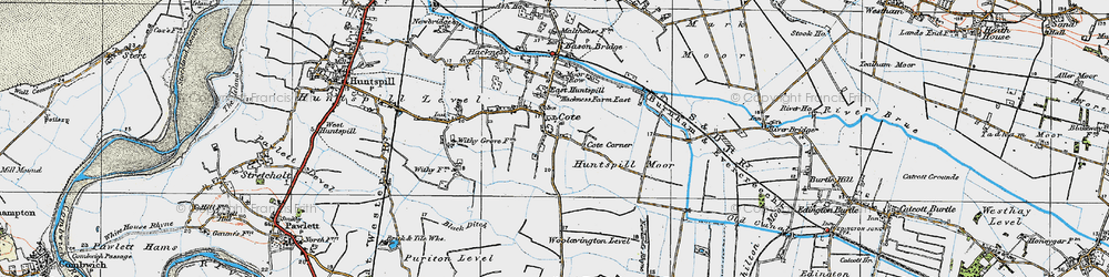 Old map of East Huntspill in 1919