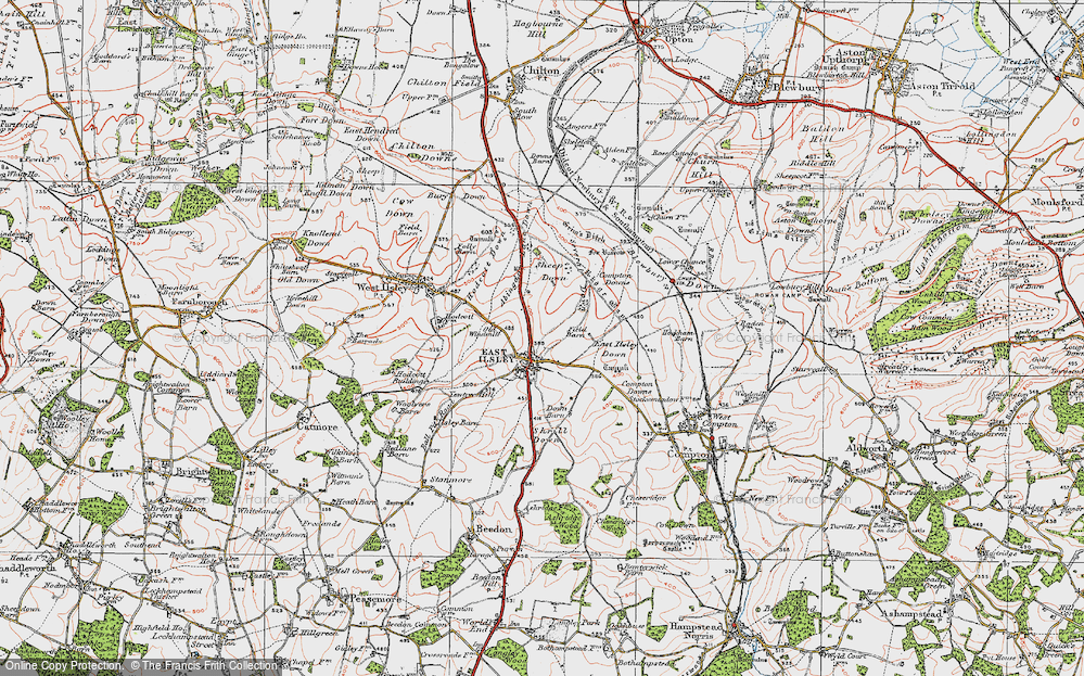Old Map of Historic Map covering Abingdon Lane Down in 1919