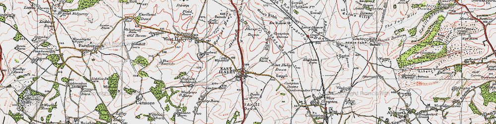 Old map of Abingdon Lane Down in 1919