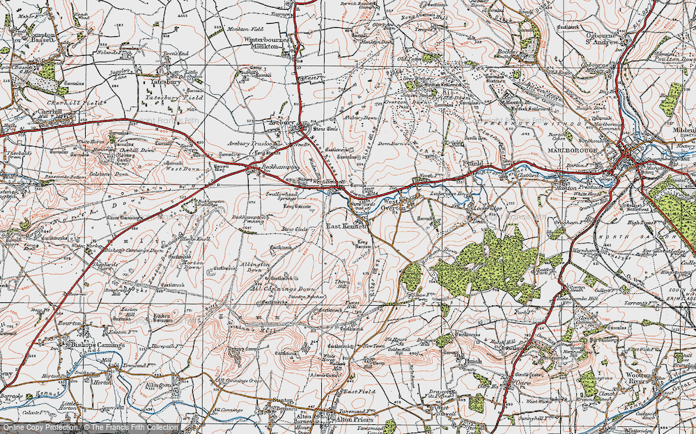 Old Map of Historic Map covering All Cannings Down in 1919