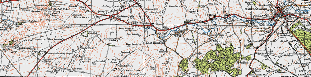 Old map of All Cannings Down in 1919