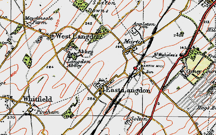 Old map of Langdon Abbey in 1920