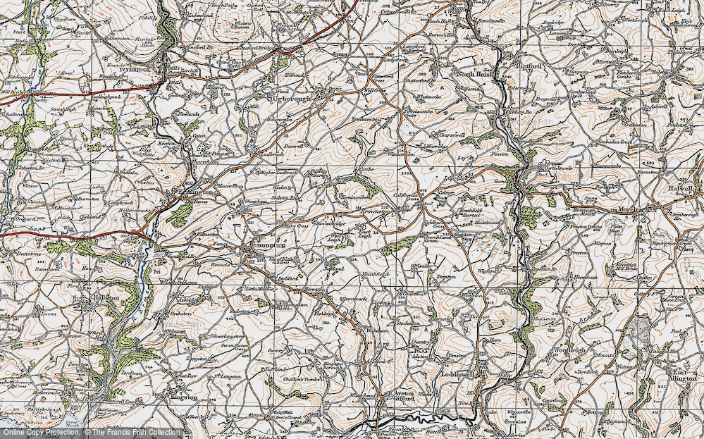 Old Map of Historic Map covering Ayleston Cross in 1919