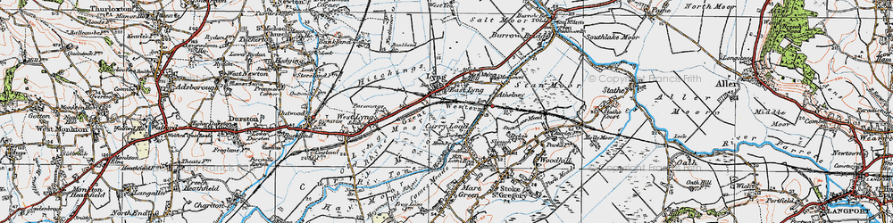 Old map of East Lyng in 1919