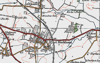 Old map of East Markham in 1923