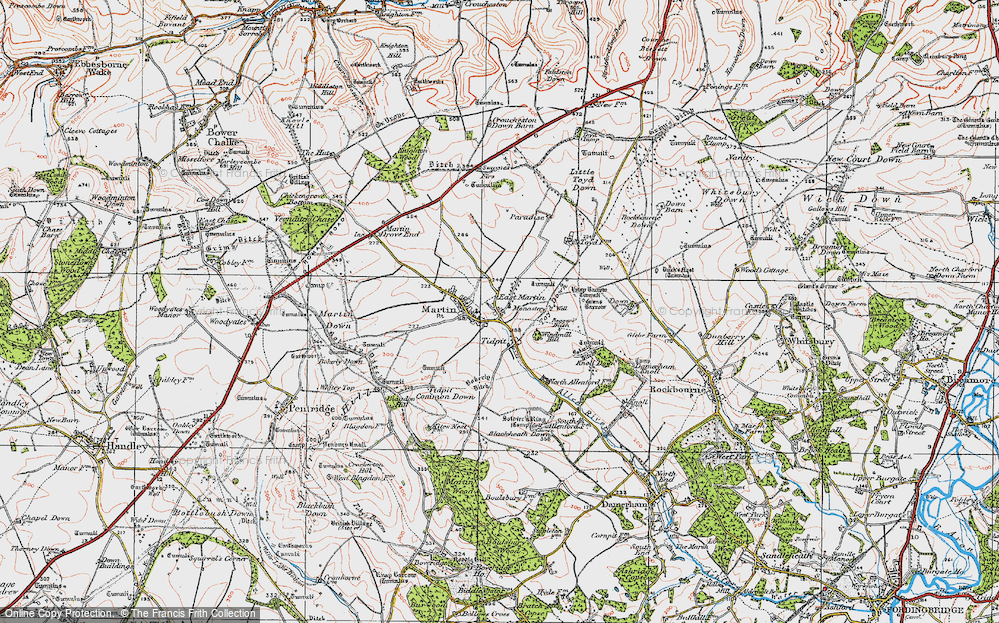 Old Map of Historic Map covering Allen River in 1919
