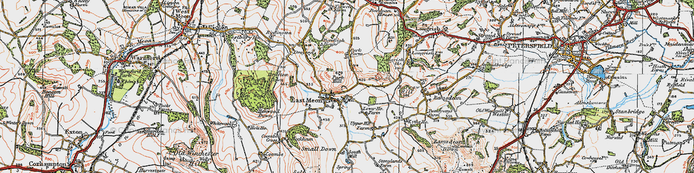 Old map of East Meon in 1919