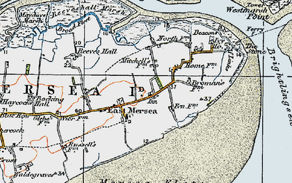 Old map of Wick Marsh in 1921