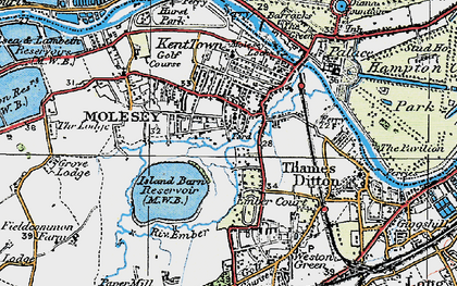 Old map of East Molesey in 1920