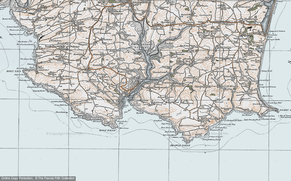 Old Map of Historic Map covering Westerncombe in 1919