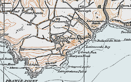 Old map of Ballsaddle Rock in 1919