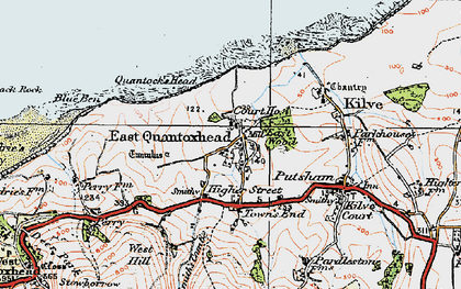 Old map of East Quantoxhead in 1919