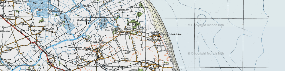 Old map of Winterton Ness in 1922
