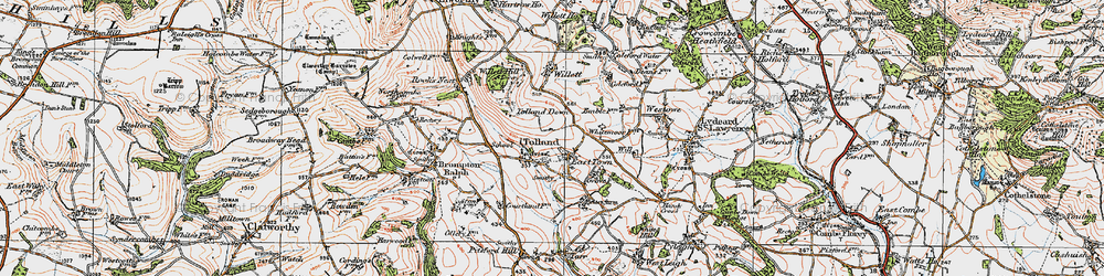 Old map of Tolland Down in 1919