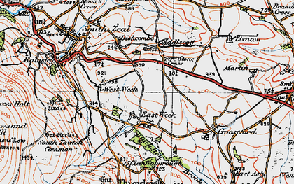 Old map of Addiscott in 1919