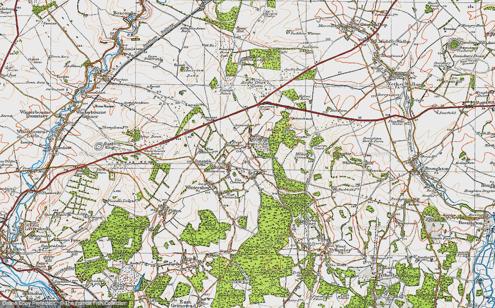Old Map of Historic Map covering Ashley's Copse in 1919
