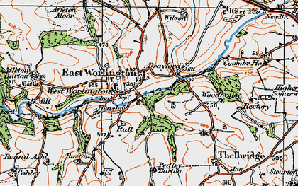 Old map of Adworthy in 1919
