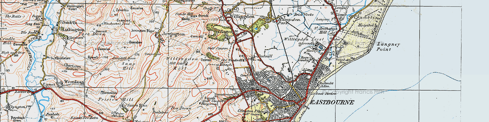 Old map of Eastbourne in 1920